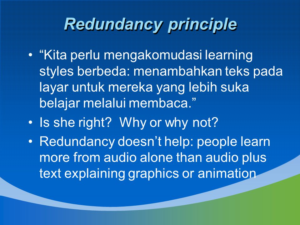 Redundancy principle