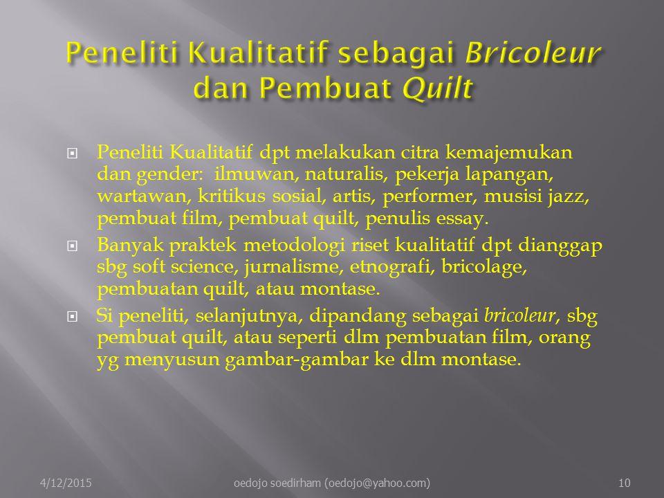 Peneliti Kualitatif sebagai Bricoleur dan Pembuat Quilt