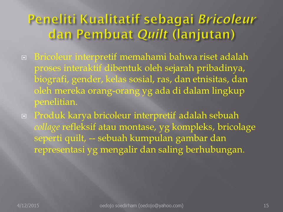 Peneliti Kualitatif sebagai Bricoleur dan Pembuat Quilt (lanjutan)