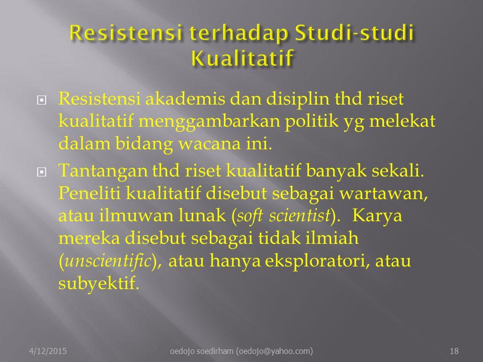 Resistensi terhadap Studi-studi Kualitatif