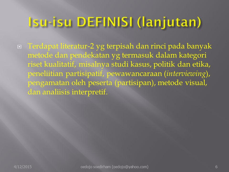 Isu-isu DEFINISI (lanjutan)