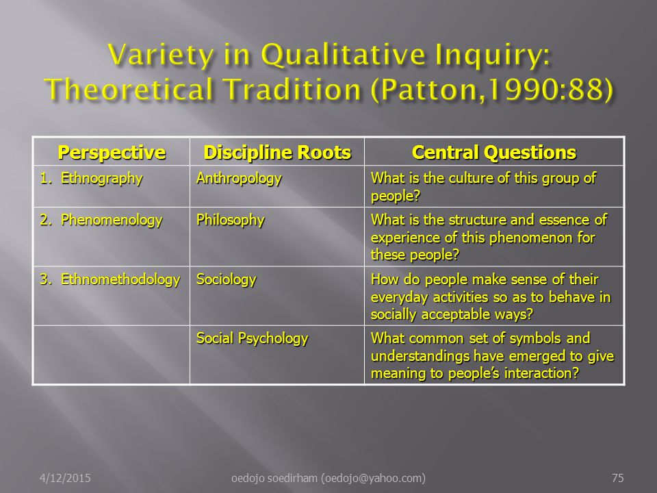Variety in Qualitative Inquiry: Theoretical Tradition (Patton,1990:88)