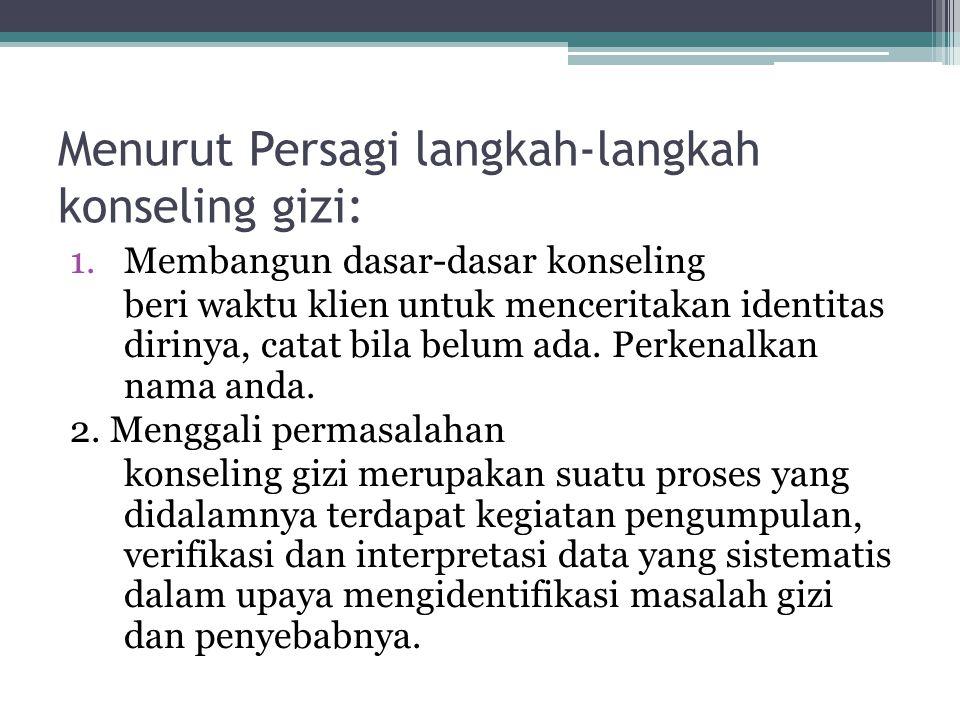 Menurut Persagi langkah-langkah konseling gizi:
