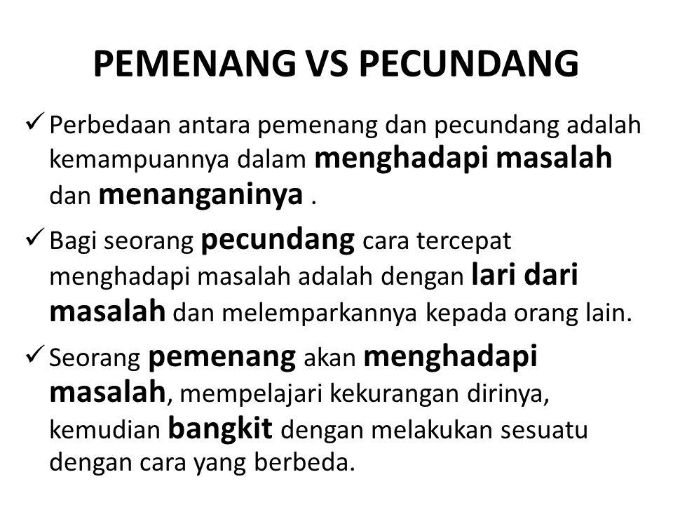PEMENANG VS PECUNDANG Perbedaan antara pemenang dan pecundang adalah kemampuannya dalam menghadapi masalah dan menanganinya .