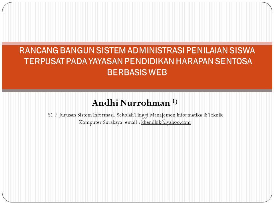 RANCANG BANGUN SISTEM ADMINISTRASI PENILAIAN SISWA TERPUSAT PADA YAYASAN PENDIDIKAN HARAPAN SENTOSA BERBASIS WEB