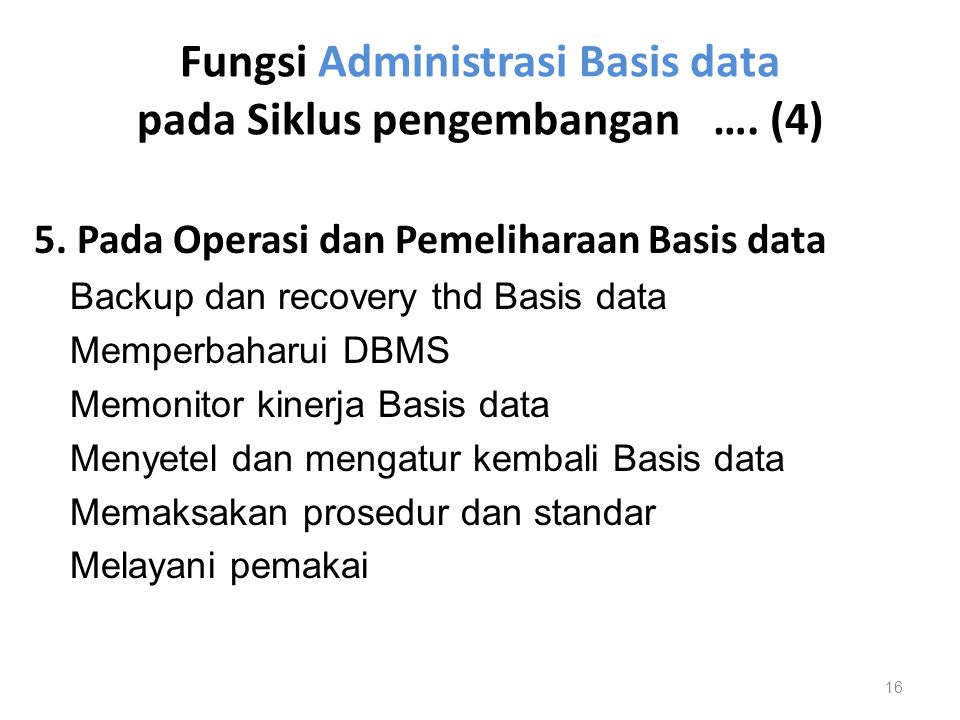 Fungsi Administrasi Basis data pada Siklus pengembangan …. (4)