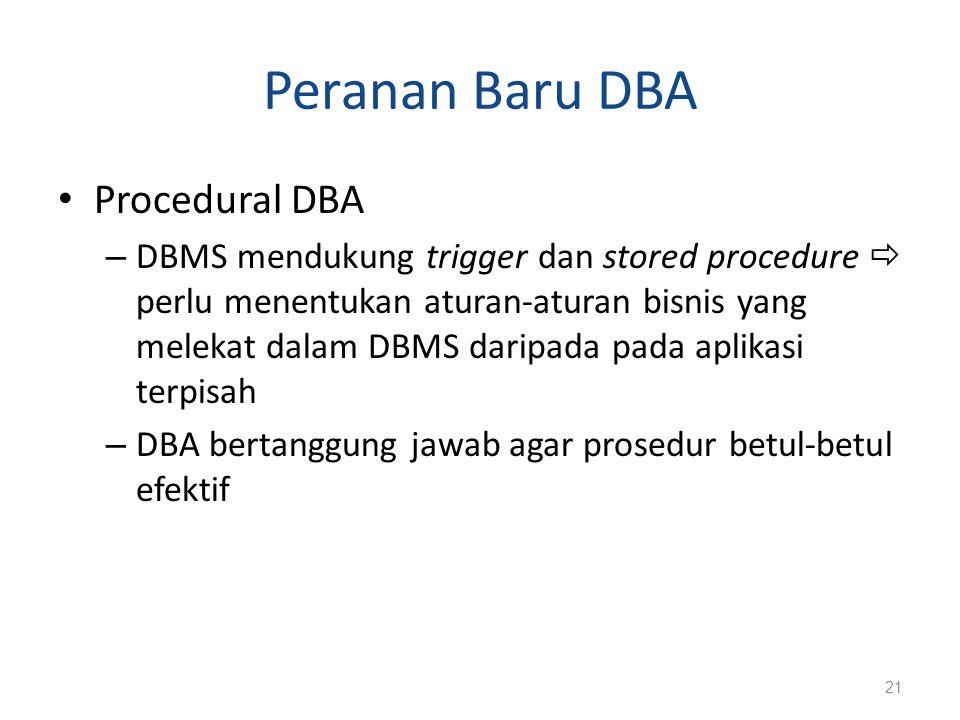 Peranan Baru DBA Procedural DBA