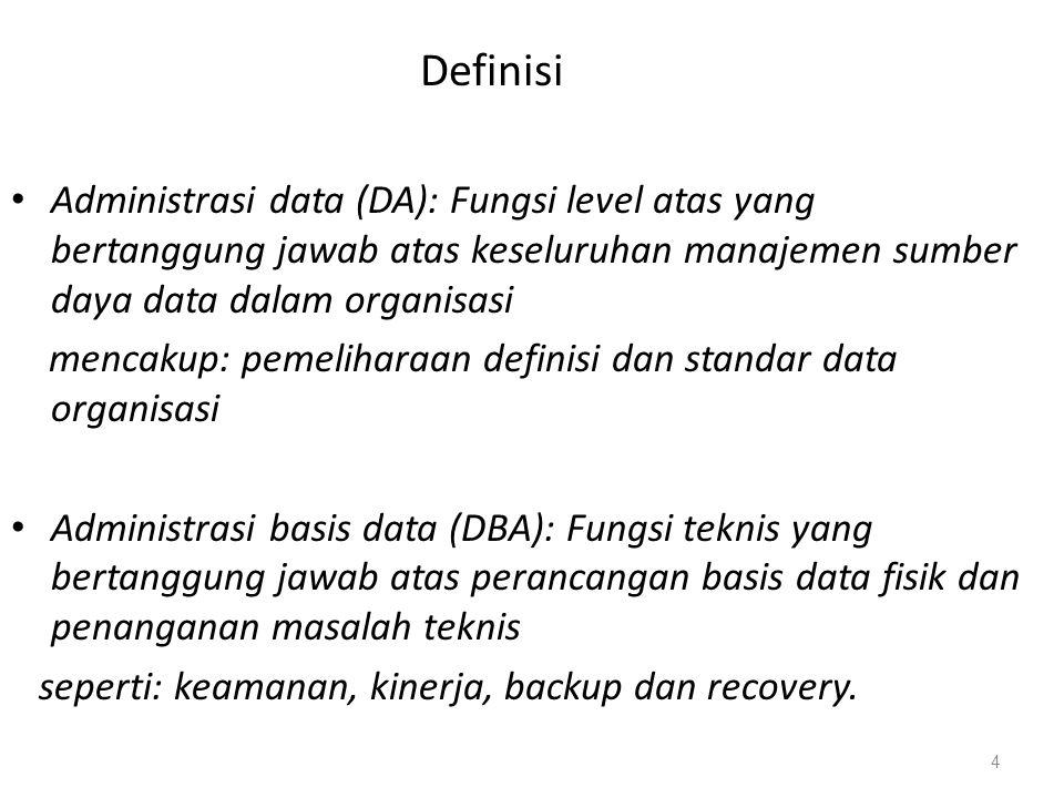 Definisi Administrasi data (DA): Fungsi level atas yang bertanggung jawab atas keseluruhan manajemen sumber daya data dalam organisasi.