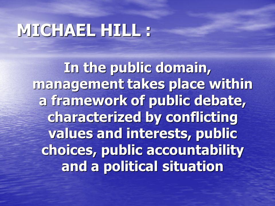 MICHAEL HILL :