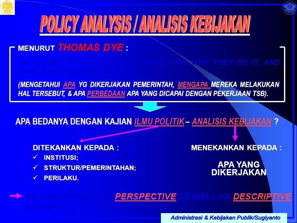 POLICY ANALYSIS / ANALISIS KEBIJAKAN