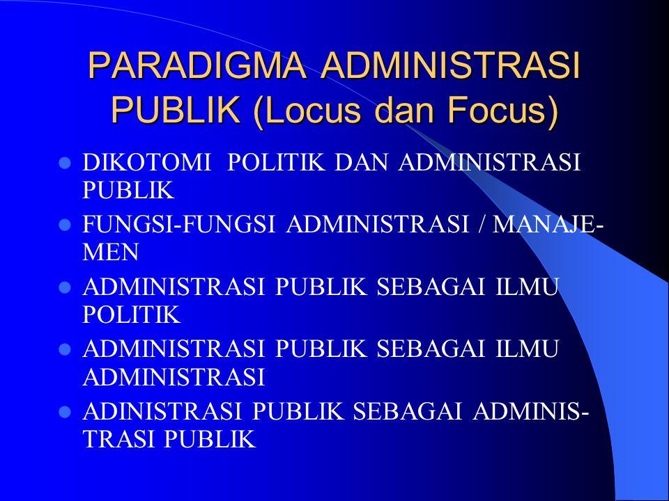 PARADIGMA ADMINISTRASI PUBLIK (Locus dan Focus)