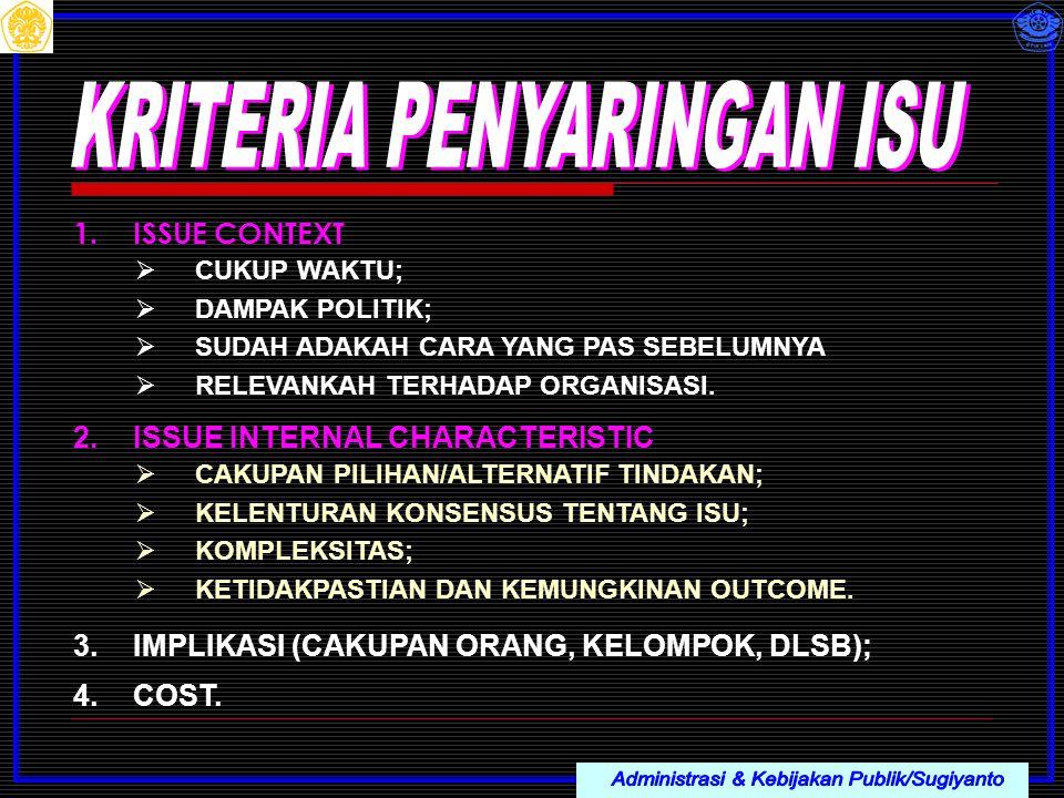 Administrasi & Kebijakan Publik/Sugiyanto KRITERIA PENYARINGAN ISU
