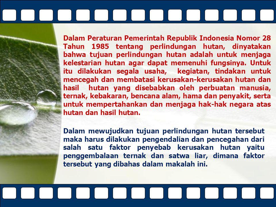 Dalam Peraturan Pemerintah Republik Indonesia Nomor 28 Tahun 1985 tentang perlindungan hutan, dinyatakan bahwa tujuan perlindungan hutan adalah untuk menjaga kelestarian hutan agar dapat memenuhi fungsinya. Untuk itu dilakukan segala usaha, kegiatan, tindakan untuk mencegah dan membatasi kerusakan-kerusakan hutan dan hasil hutan yang disebabkan oleh perbuatan manusia, ternak, kebakaran, bencana alam, hama dan penyakit, serta untuk mempertahankan dan menjaga hak-hak negara atas hutan dan hasil hutan.