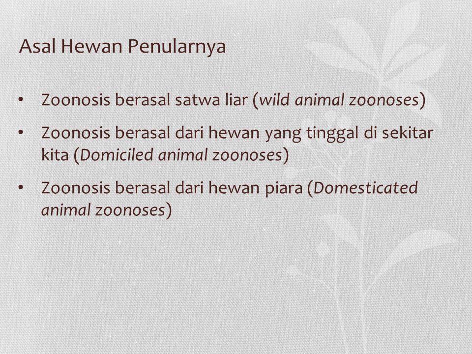 Asal Hewan Penularnya Zoonosis berasal satwa liar (wild animal zoonoses)