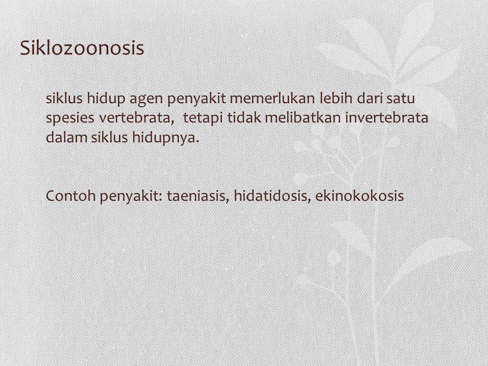 Siklozoonosis siklus hidup agen penyakit memerlukan lebih dari satu spesies vertebrata, tetapi tidak melibatkan invertebrata dalam siklus hidupnya.