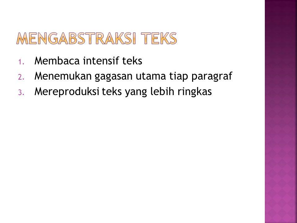 Mengabstraksi teks Membaca intensif teks