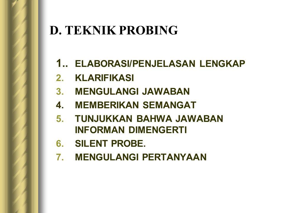 D. TEKNIK PROBING 1.. ELABORASI/PENJELASAN LENGKAP KLARIFIKASI