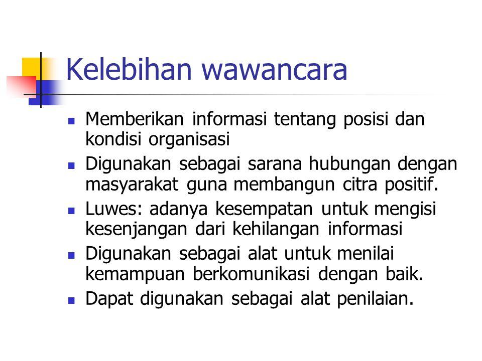 Kelebihan wawancara Memberikan informasi tentang posisi dan kondisi organisasi.