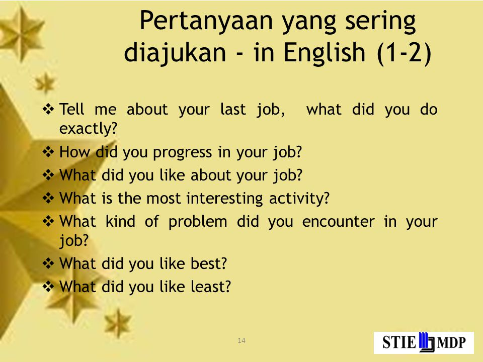 Pertanyaan yang sering diajukan - in English (1-2)