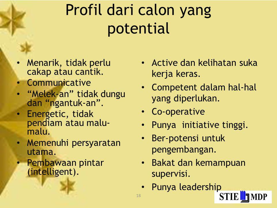 Profil dari calon yang potential
