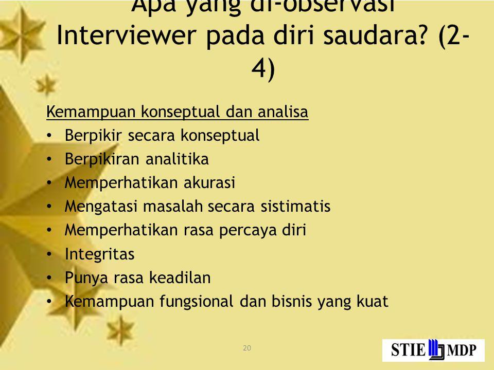 Apa yang di-observasi Interviewer pada diri saudara (2-4)