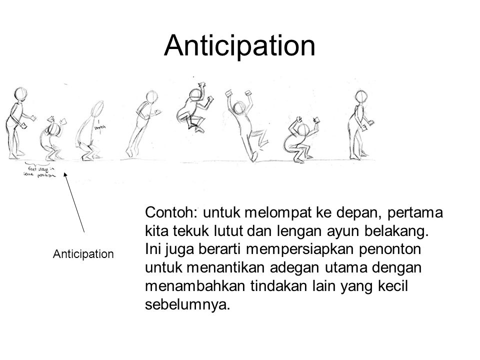 Anticipation Contoh: untuk melompat ke depan, pertama kita tekuk lutut dan lengan ayun belakang.