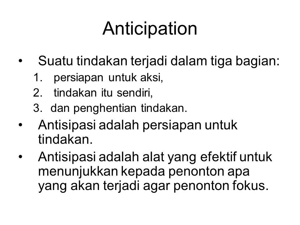 Anticipation Suatu tindakan terjadi dalam tiga bagian: