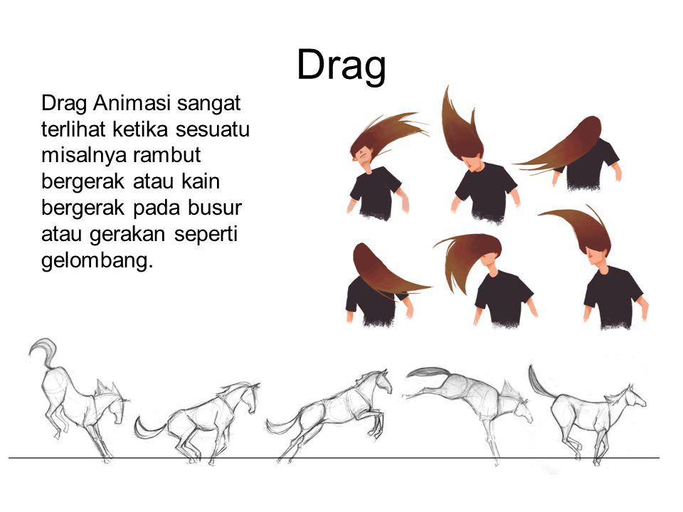 Drag Drag Animasi sangat terlihat ketika sesuatu misalnya rambut bergerak atau kain bergerak pada busur atau gerakan seperti gelombang.