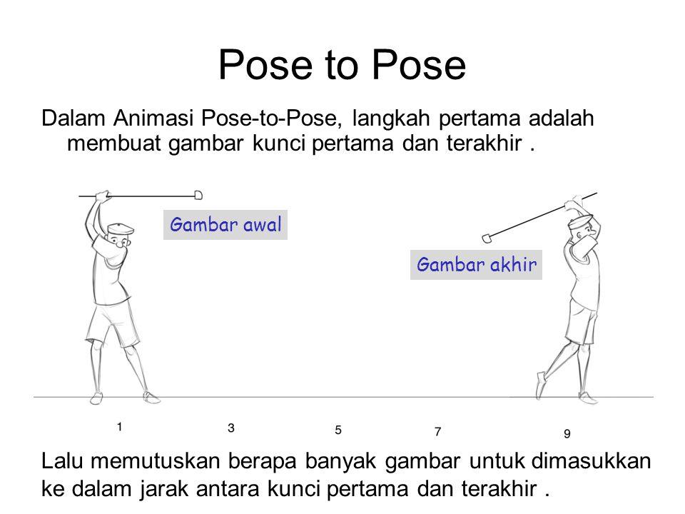 Pose to Pose Dalam Animasi Pose-to-Pose, langkah pertama adalah membuat gambar kunci pertama dan terakhir .