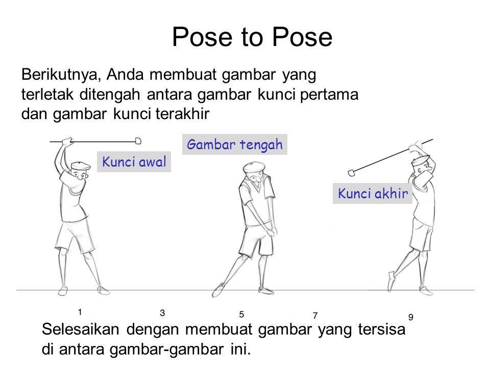 Pose to Pose Berikutnya, Anda membuat gambar yang terletak ditengah antara gambar kunci pertama dan gambar kunci terakhir.