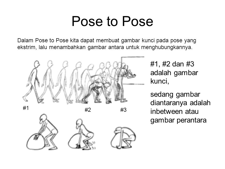 Pose to Pose #1, #2 dan #3 adalah gambar kunci,
