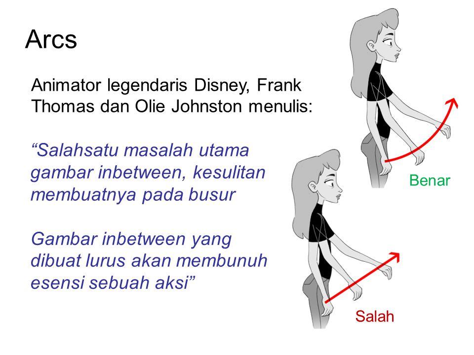 Arcs Animator legendaris Disney, Frank Thomas dan Olie Johnston menulis: Salahsatu masalah utama gambar inbetween, kesulitan membuatnya pada busur.