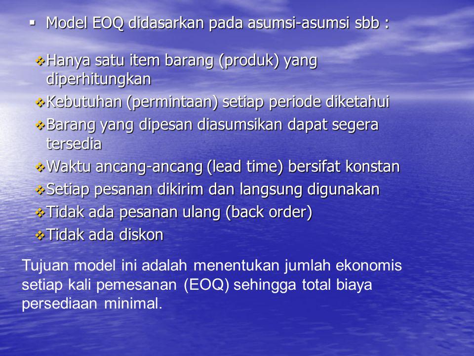 Model EOQ didasarkan pada asumsi-asumsi sbb :