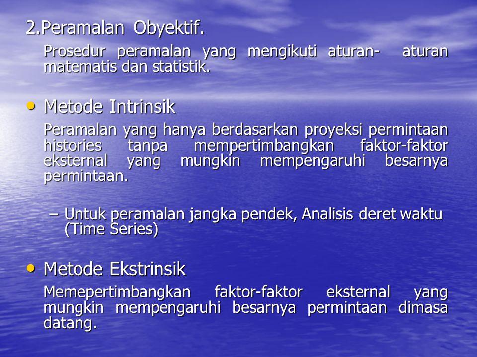 2.Peramalan Obyektif. Prosedur peramalan yang mengikuti aturan- aturan matematis dan statistik. Metode Intrinsik.