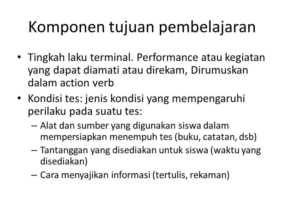 Komponen tujuan pembelajaran