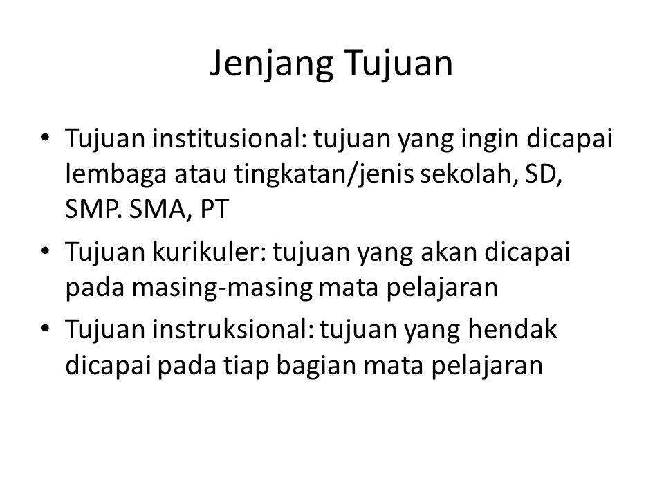 Jenjang Tujuan Tujuan institusional: tujuan yang ingin dicapai lembaga atau tingkatan/jenis sekolah, SD, SMP. SMA, PT.