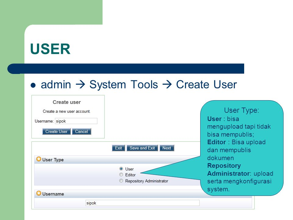 USER admin  System Tools  Create User User Type: