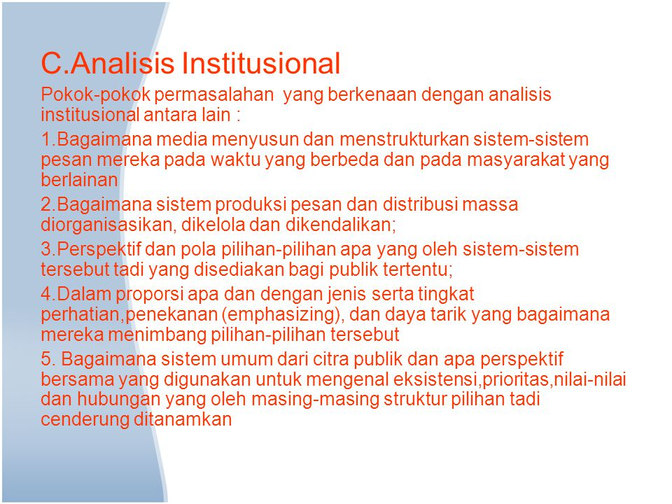 C.Analisis Institusional