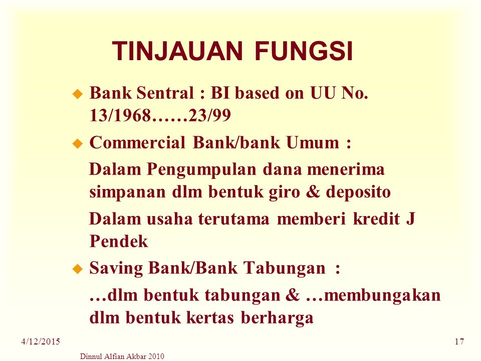 TINJAUAN FUNGSI Bank Sentral : BI based on UU No. 13/1968……23/99