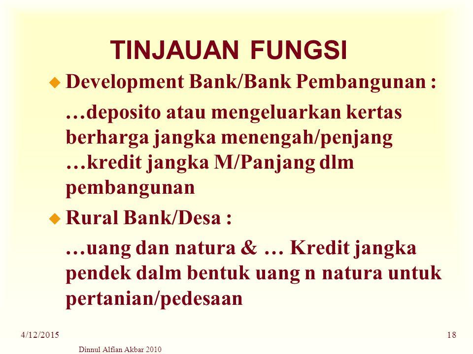 TINJAUAN FUNGSI Development Bank/Bank Pembangunan :