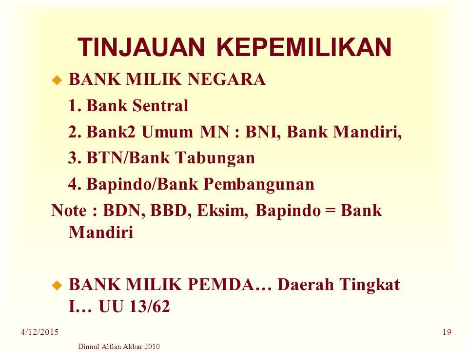 TINJAUAN KEPEMILIKAN BANK MILIK NEGARA 1. Bank Sentral