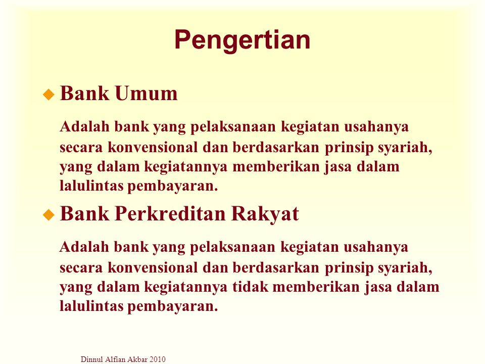 Pengertian Bank Umum.