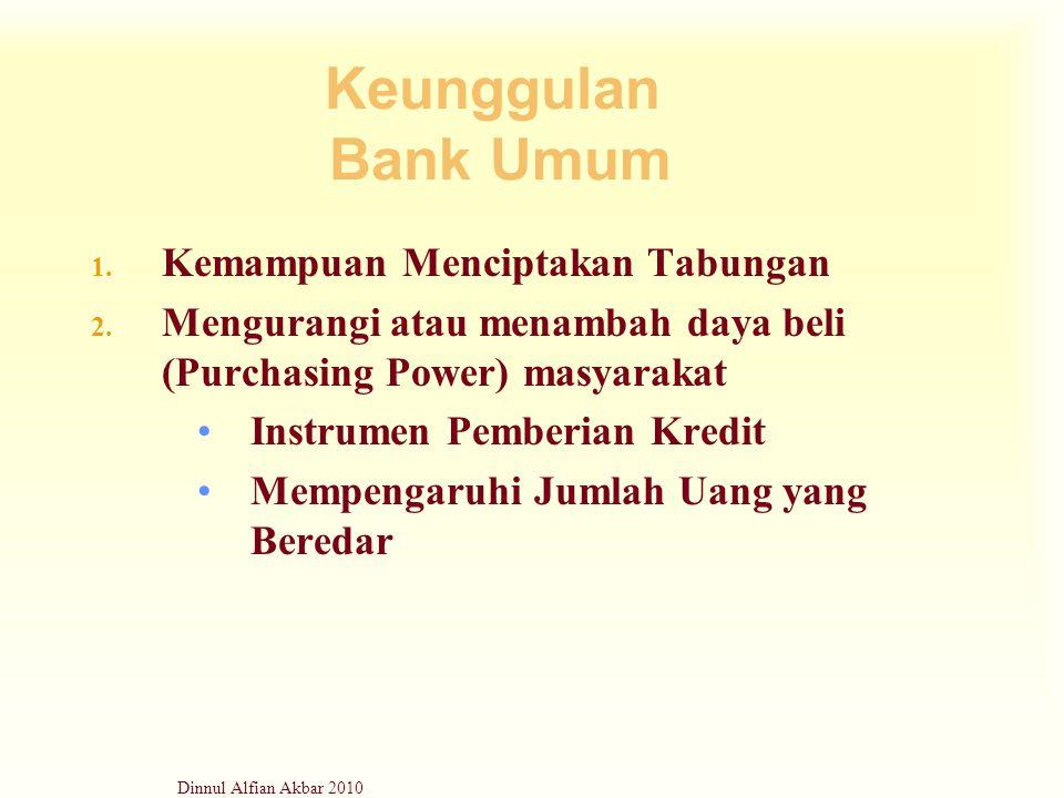 Keunggulan Bank Umum Kemampuan Menciptakan Tabungan