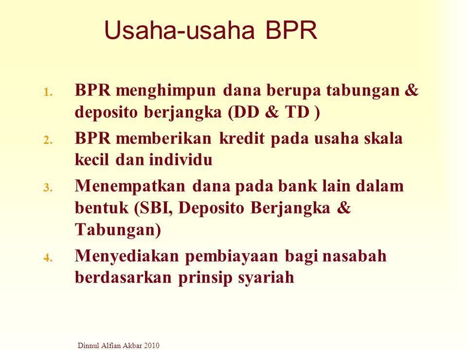 Usaha-usaha BPR BPR menghimpun dana berupa tabungan & deposito berjangka (DD & TD ) BPR memberikan kredit pada usaha skala kecil dan individu.