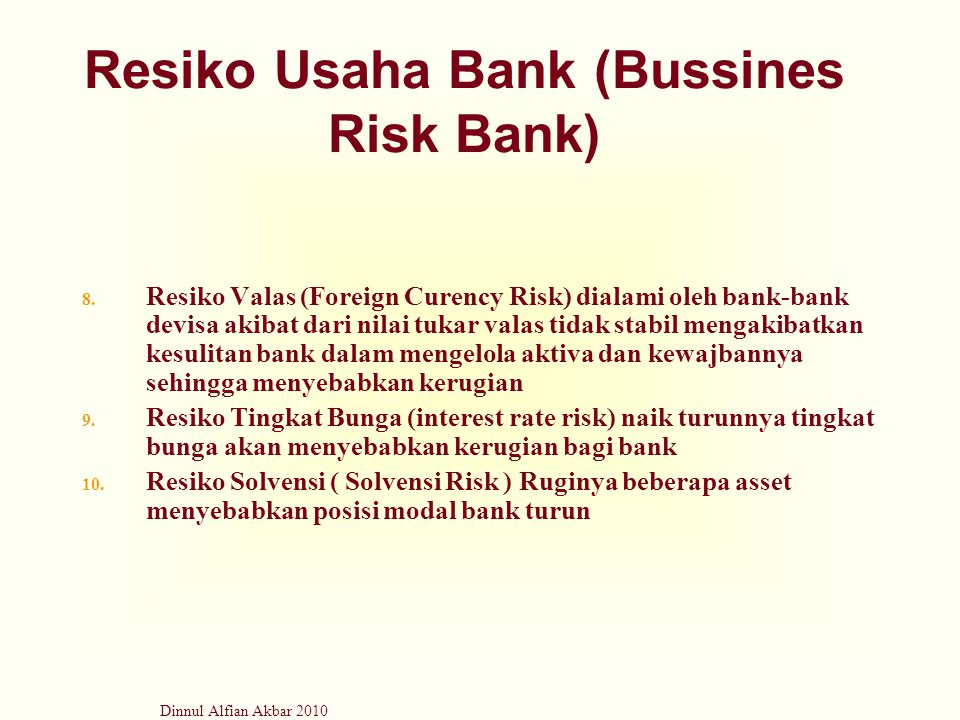 Resiko Usaha Bank (Bussines Risk Bank)