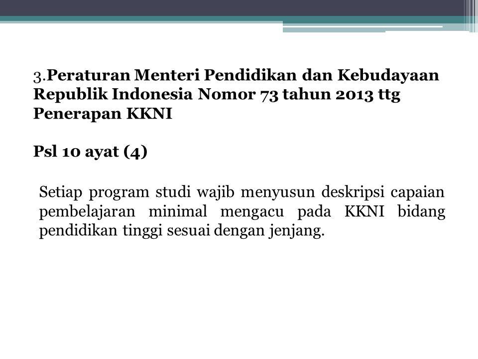 3.Peraturan Menteri Pendidikan dan Kebudayaan Republik Indonesia Nomor 73 tahun 2013 ttg Penerapan KKNI