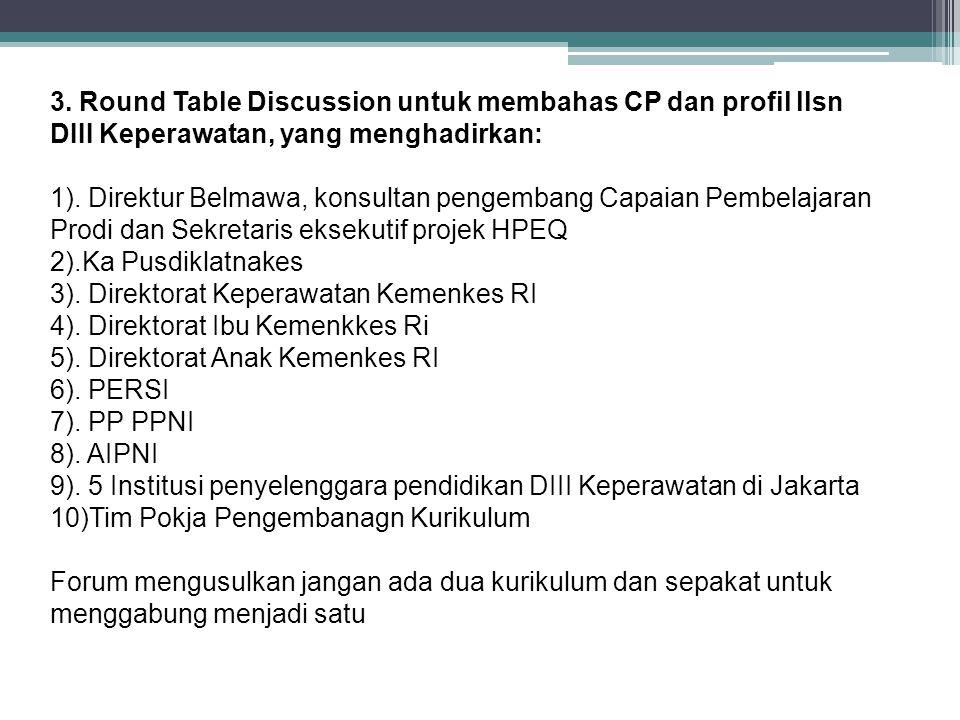 3. Round Table Discussion untuk membahas CP dan profil llsn DIII Keperawatan, yang menghadirkan: