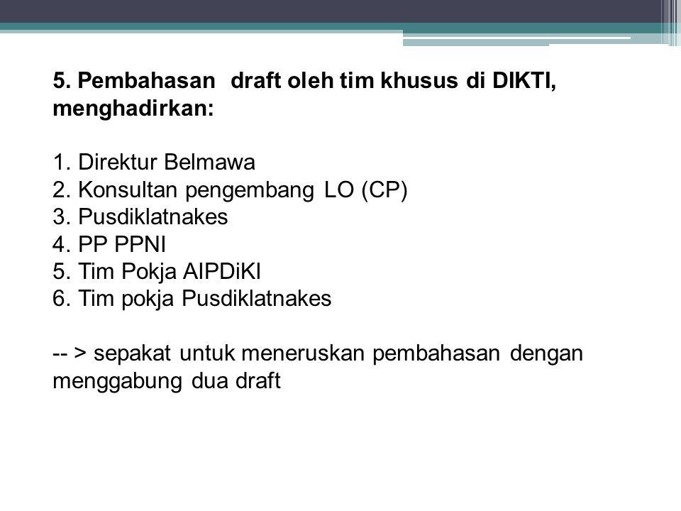 5. Pembahasan draft oleh tim khusus di DIKTI, menghadirkan: