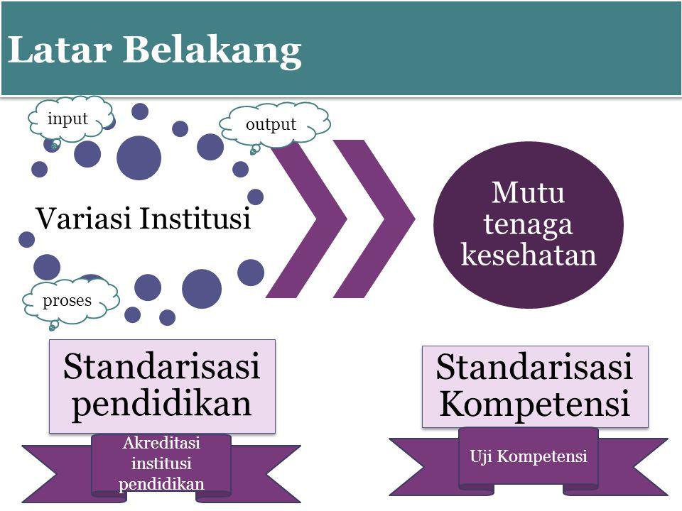 Latar Belakang Standarisasi pendidikan Standarisasi Kompetensi