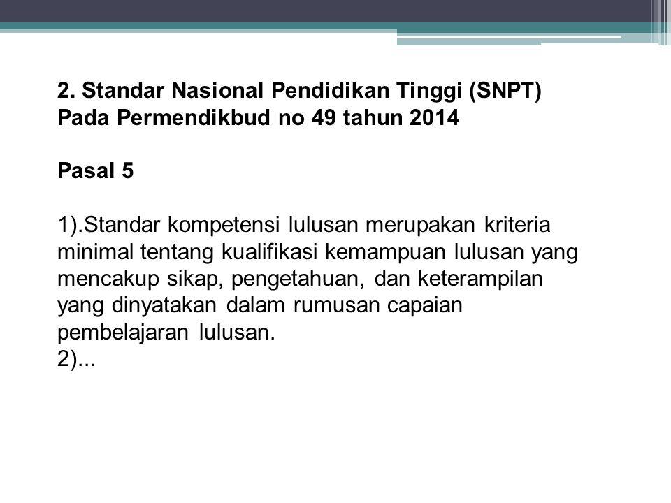 2. Standar Nasional Pendidikan Tinggi (SNPT)